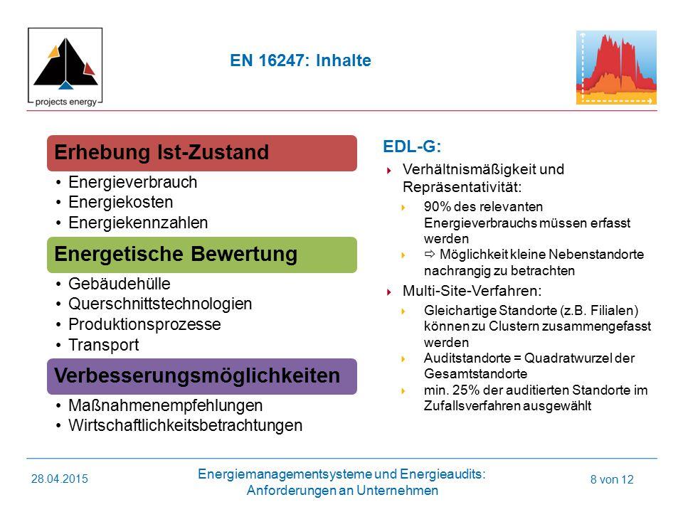 Energiemanagementsysteme und Energieaudits: Anforderungen an Unternehmen 28.04.2015 8 von 12 Erhebung Ist-Zustand Energieverbrauch Energiekosten Energiekennzahlen Energetische Bewertung Gebäudehülle Querschnittstechnologien Produktionsprozesse Transport Verbesserungsmöglichkeiten Maßnahmenempfehlungen Wirtschaftlichkeitsbetrachtungen EN 16247: Inhalte EDL-G:  Verhältnismäßigkeit und Repräsentativität:  90% des relevanten Energieverbrauchs müssen erfasst werden   Möglichkeit kleine Nebenstandorte nachrangig zu betrachten  Multi-Site-Verfahren:  Gleichartige Standorte (z.B.