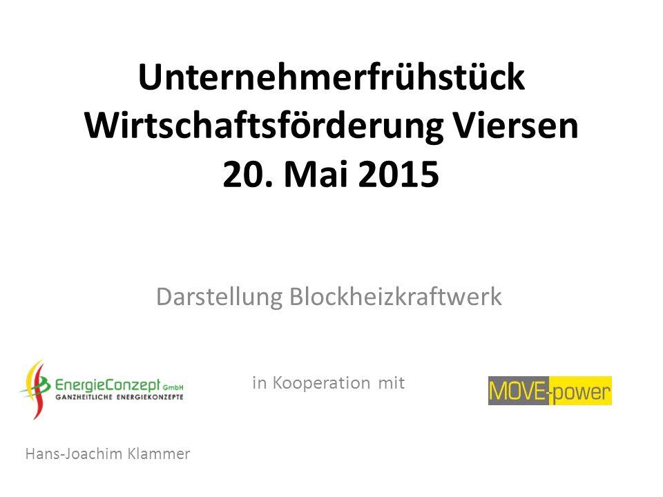 Unternehmerfrühstück Wirtschaftsförderung Viersen 20. Mai 2015 Darstellung Blockheizkraftwerk in Kooperation mit Hans-Joachim Klammer