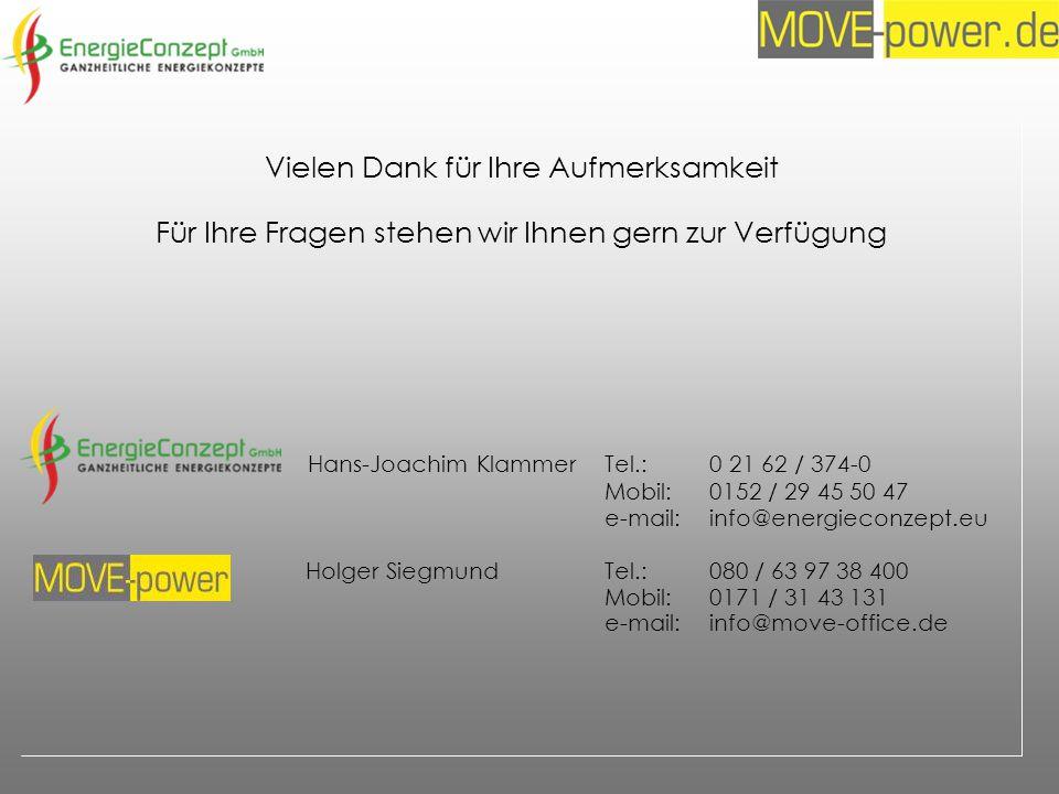 Vielen Dank für Ihre Aufmerksamkeit Für Ihre Fragen stehen wir Ihnen gern zur Verfügung Hans-Joachim Klammer Tel.:0 21 62 / 374-0 Mobil:0152 / 29 45 50 47 e-mail:info@energieconzept.eu Holger SiegmundTel.:080 / 63 97 38 400 Mobil:0171 / 31 43 131 e-mail:info@move-office.de