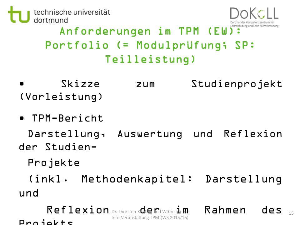 Anforderungen im TPM (EW): Portfolio (= Modulprüfung; SP: Teilleistung) Skizze zum Studienprojekt (Vorleistung) TPM-Bericht Darstellung, Auswertung un