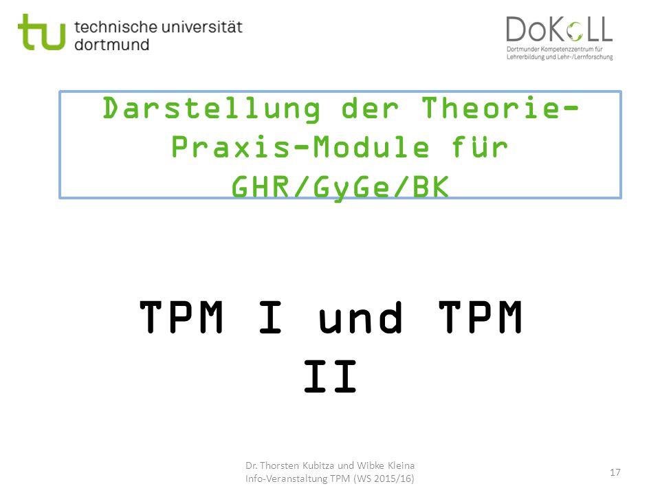 Darstellung der Theorie- Praxis-Module für GHR/GyGe/BK TPM I und TPM II Dr. Thorsten Kubitza und Wibke Kleina Info-Veranstaltung TPM (WS 2015/16) 17