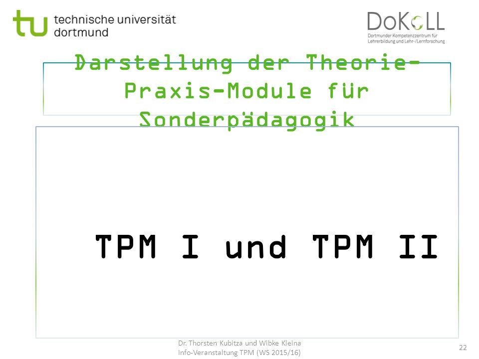 Darstellung der Theorie- Praxis-Module für Sonderpädagogik TPM I und TPM II 22 Dr. Thorsten Kubitza und Wibke Kleina Info-Veranstaltung TPM (WS 2015/1