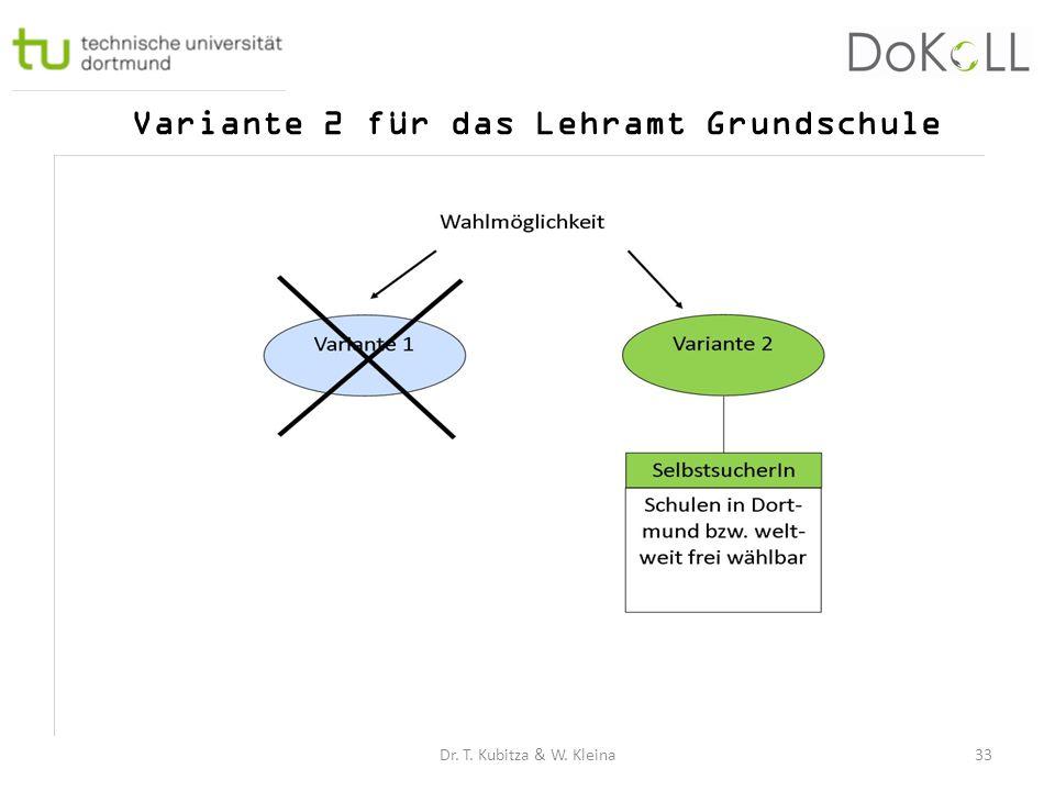 Variante 2 für das Lehramt Grundschule Dr. T. Kubitza & W. Kleina33