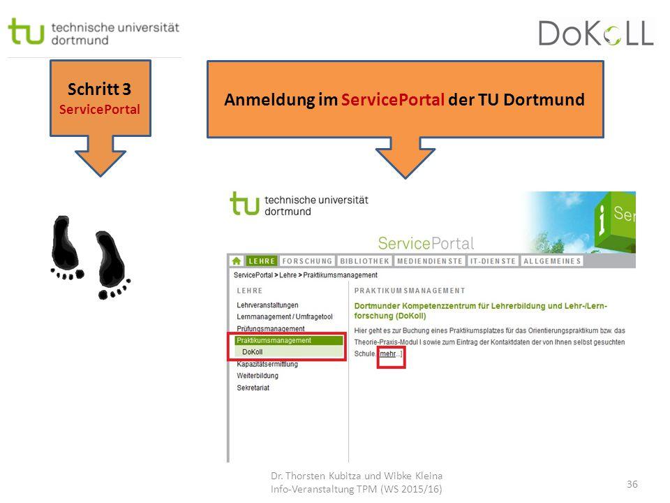 Schritt 3 ServicePortal Anmeldung im ServicePortal der TU Dortmund Dr. Thorsten Kubitza und Wibke Kleina Info-Veranstaltung TPM (WS 2015/16) 36