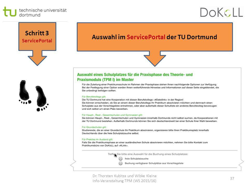 Schritt 3 ServicePortal Auswahl im ServicePortal der TU Dortmund Dr. Thorsten Kubitza und Wibke Kleina Info-Veranstaltung TPM (WS 2015/16) 37