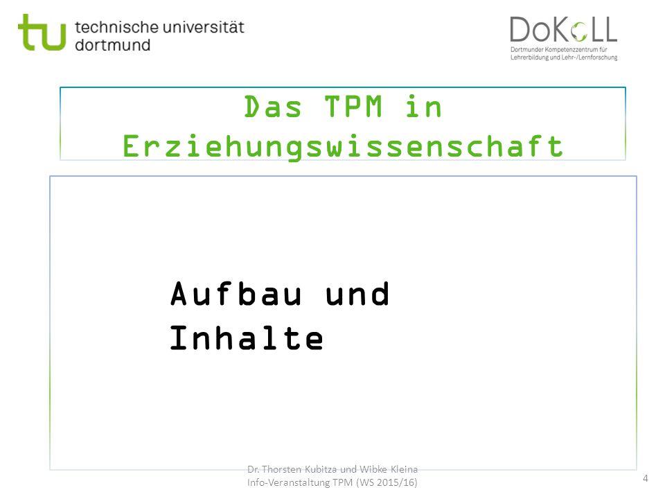 Das TPM in Erziehungswissenschaft 4 Aufbau und Inhalte Dr. Thorsten Kubitza und Wibke Kleina Info-Veranstaltung TPM (WS 2015/16)