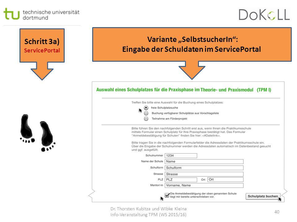 """Schritt 3a) ServicePortal Variante """"SelbstsucherIn"""": Eingabe der Schuldaten im ServicePortal Dr. Thorsten Kubitza und Wibke Kleina Info-Veranstaltung"""