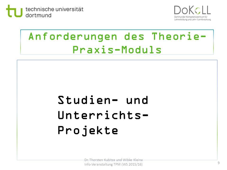 Anforderungen des Theorie- Praxis-Moduls 9 Studien- und Unterrichts- Projekte Dr. Thorsten Kubitza und Wibke Kleina Info-Veranstaltung TPM (WS 2015/16