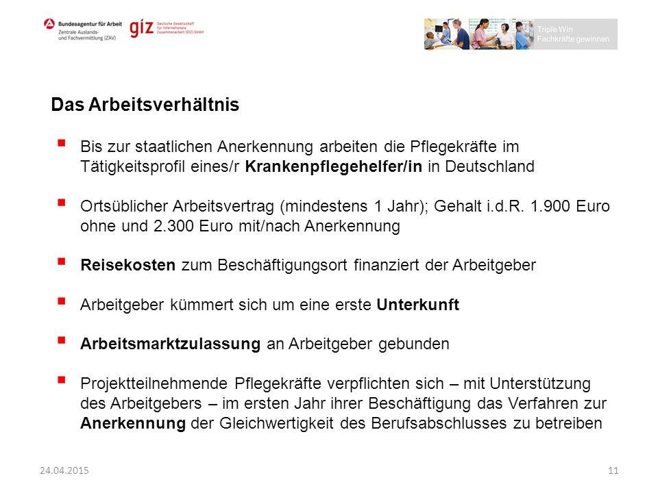  Bis zur staatlichen Anerkennung arbeiten die Pflegekräfte im Tätigkeitsprofil eines/r Krankenpflegehelfer/in in Deutschland  Ortsüblicher Arbeitsve