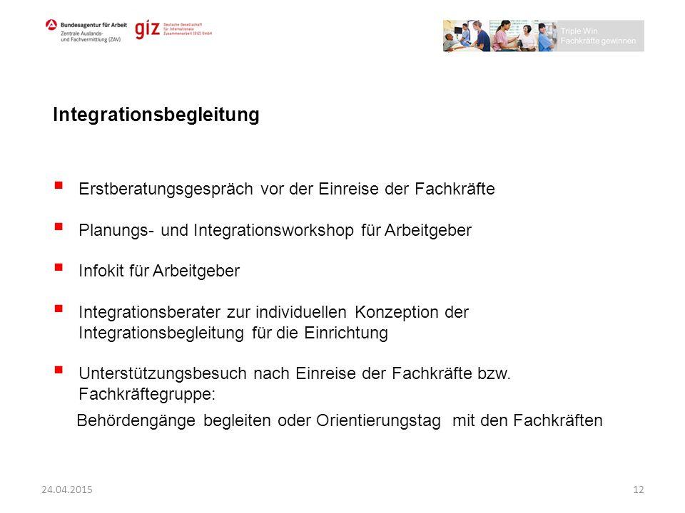  Erstberatungsgespräch vor der Einreise der Fachkräfte  Planungs- und Integrationsworkshop für Arbeitgeber  Infokit für Arbeitgeber  Integrationsb