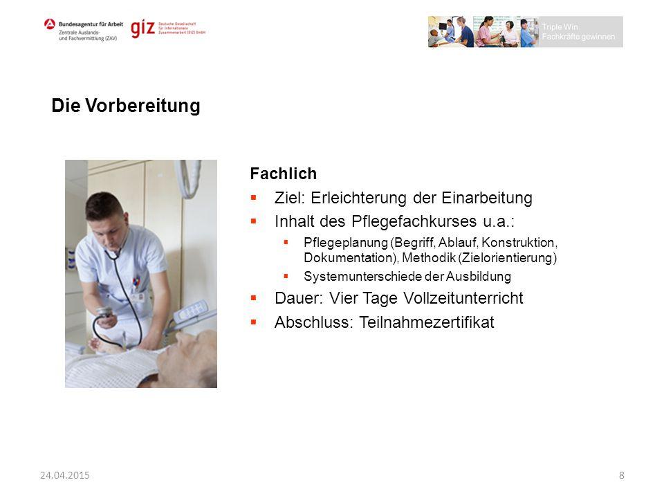 Fachlich  Ziel: Erleichterung der Einarbeitung  Inhalt des Pflegefachkurses u.a.:  Pflegeplanung (Begriff, Ablauf, Konstruktion, Dokumentation), Me