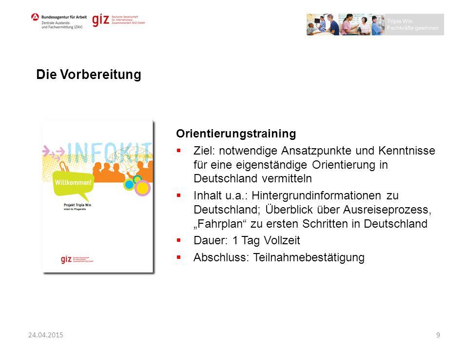 Orientierungstraining  Ziel: notwendige Ansatzpunkte und Kenntnisse für eine eigenständige Orientierung in Deutschland vermitteln  Inhalt u.a.: Hint