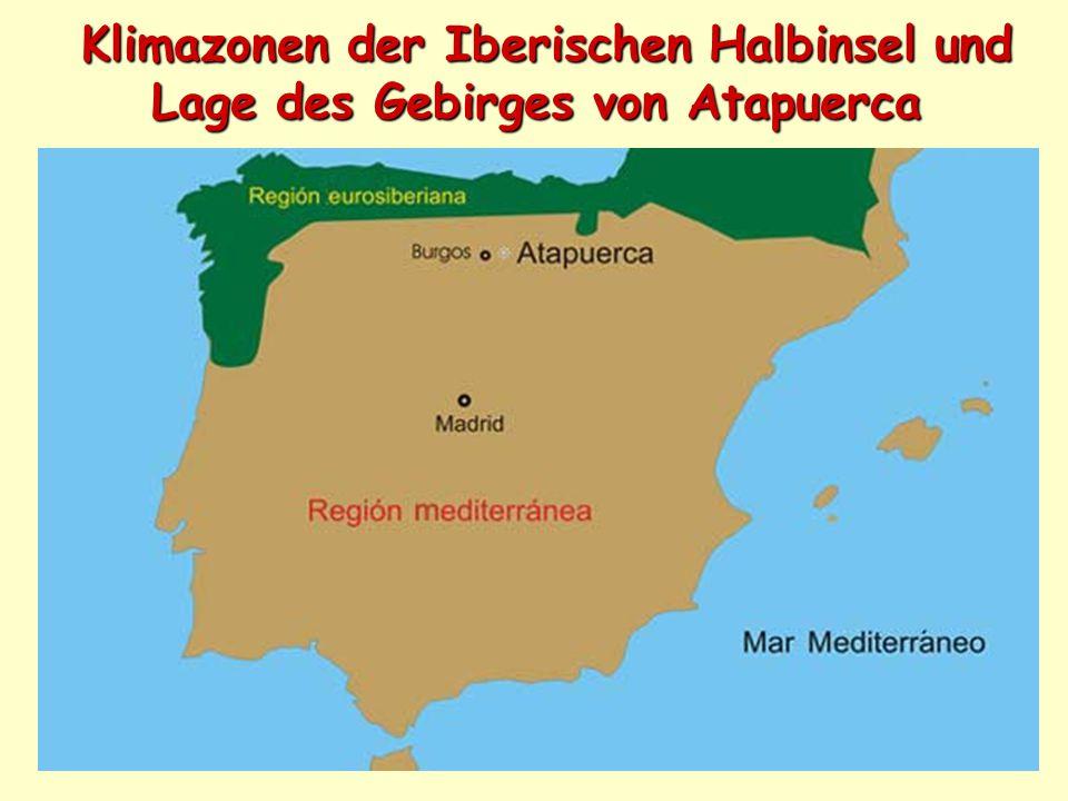 Klimazonen der Iberischen Halbinsel und Lage des Gebirges von Atapuerca Klimazonen der Iberischen Halbinsel und Lage des Gebirges von Atapuerca