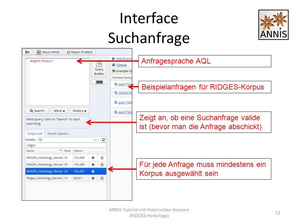 Interface Suchanfrage Zeigt an, ob eine Suchanfrage valide ist (bevor man die Anfrage abschickt) Anfragesprache AQL 12 Für jede Anfrage muss mindesten