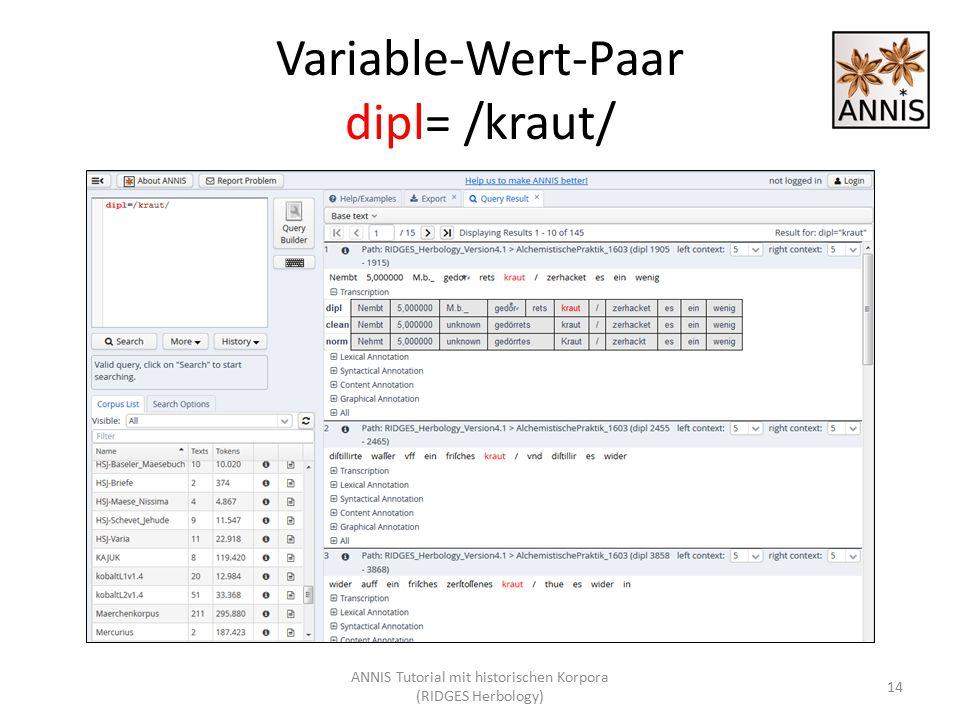 Variable-Wert-Paar dipl= /kraut/ 14 ANNIS Tutorial mit historischen Korpora (RIDGES Herbology)