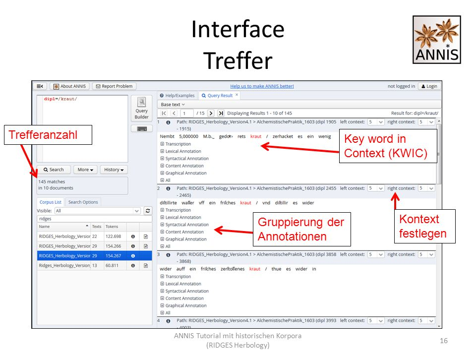 Interface Treffer Key word in Context (KWIC) 16 Trefferanzahl Kontext festlegen Gruppierung der Annotationen ANNIS Tutorial mit historischen Korpora (RIDGES Herbology)