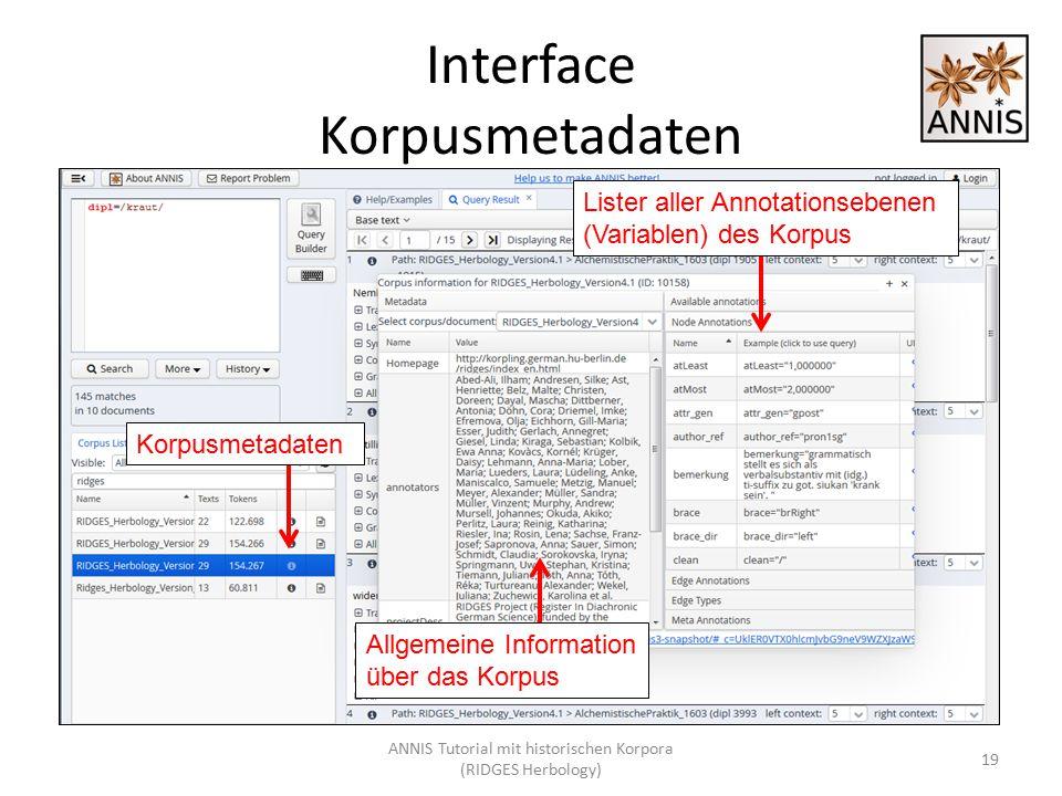 Interface Korpusmetadaten 19 Korpusmetadaten Lister aller Annotationsebenen (Variablen) des Korpus Allgemeine Information über das Korpus ANNIS Tutori