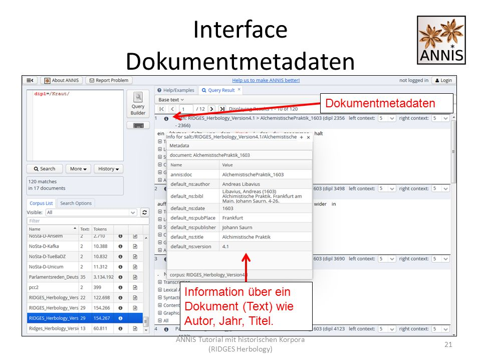 Interface Dokumentmetadaten 21 Information über ein Dokument (Text) wie Autor, Jahr, Titel. Dokumentmetadaten ANNIS Tutorial mit historischen Korpora
