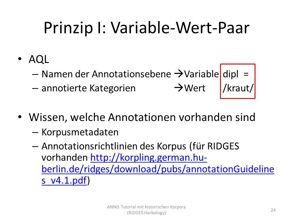 Prinzip I: Variable-Wert-Paar AQL – Namen der Annotationsebene  Variabledipl = – annotierte Kategorien  Wert/kraut/ Wissen, welche Annotationen vorh