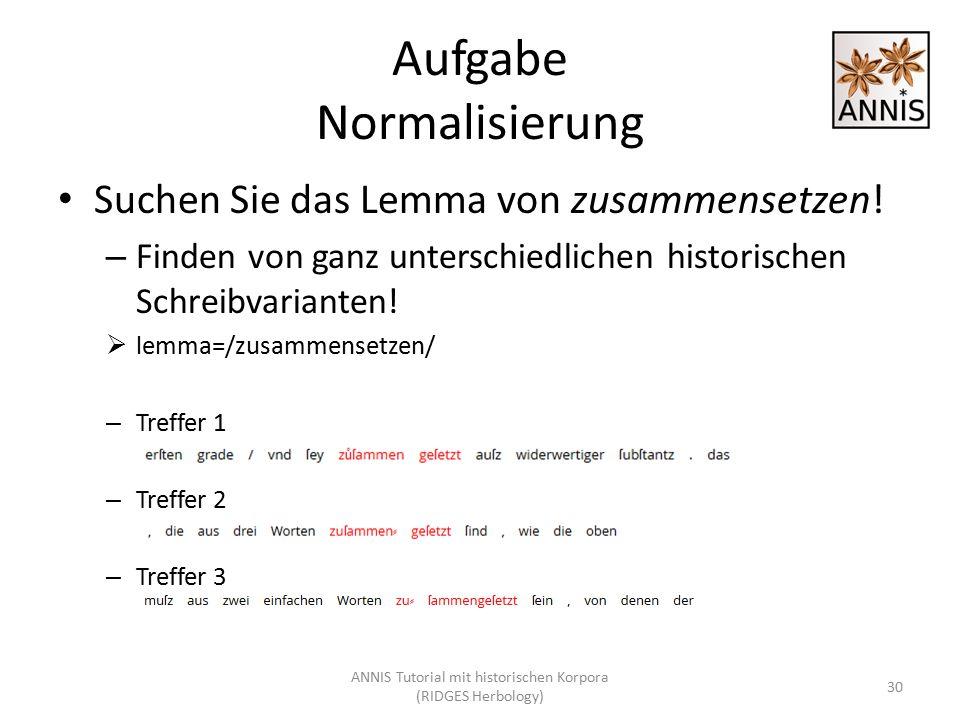 Aufgabe Normalisierung Suchen Sie das Lemma von zusammensetzen! – Finden von ganz unterschiedlichen historischen Schreibvarianten!  lemma=/zusammense
