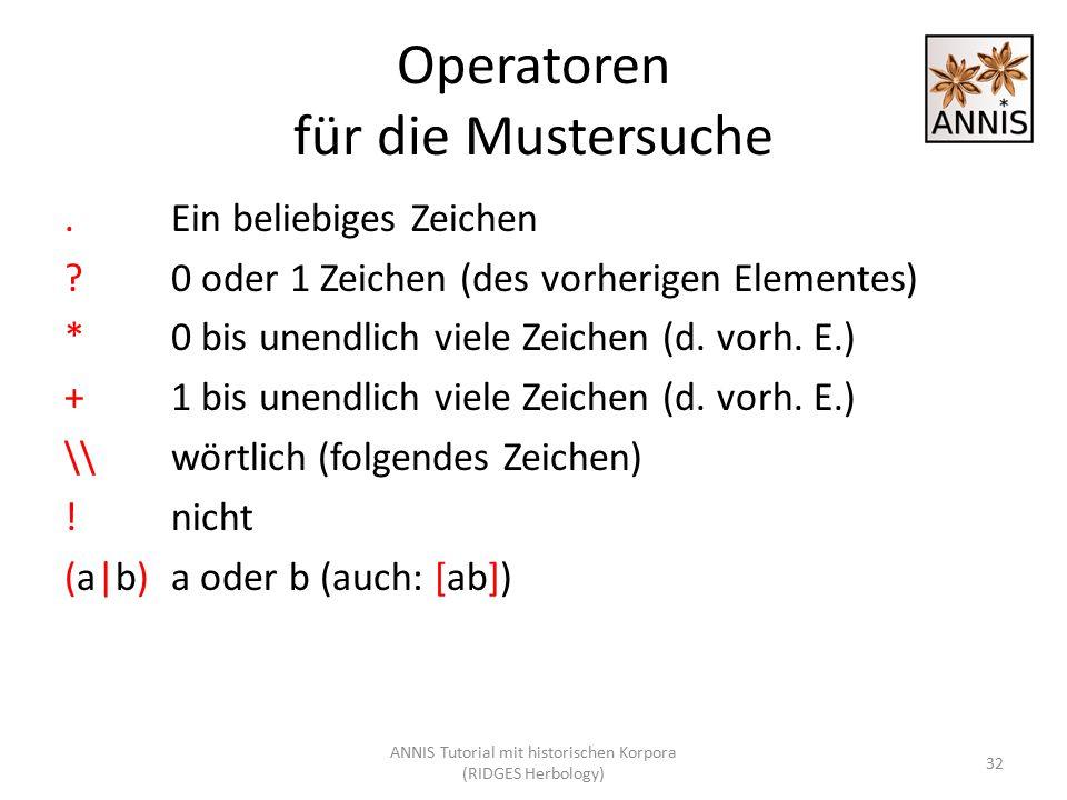 Operatoren für die Mustersuche.Ein beliebiges Zeichen ?0 oder 1 Zeichen (des vorherigen Elementes) *0 bis unendlich viele Zeichen (d. vorh. E.) +1 bis