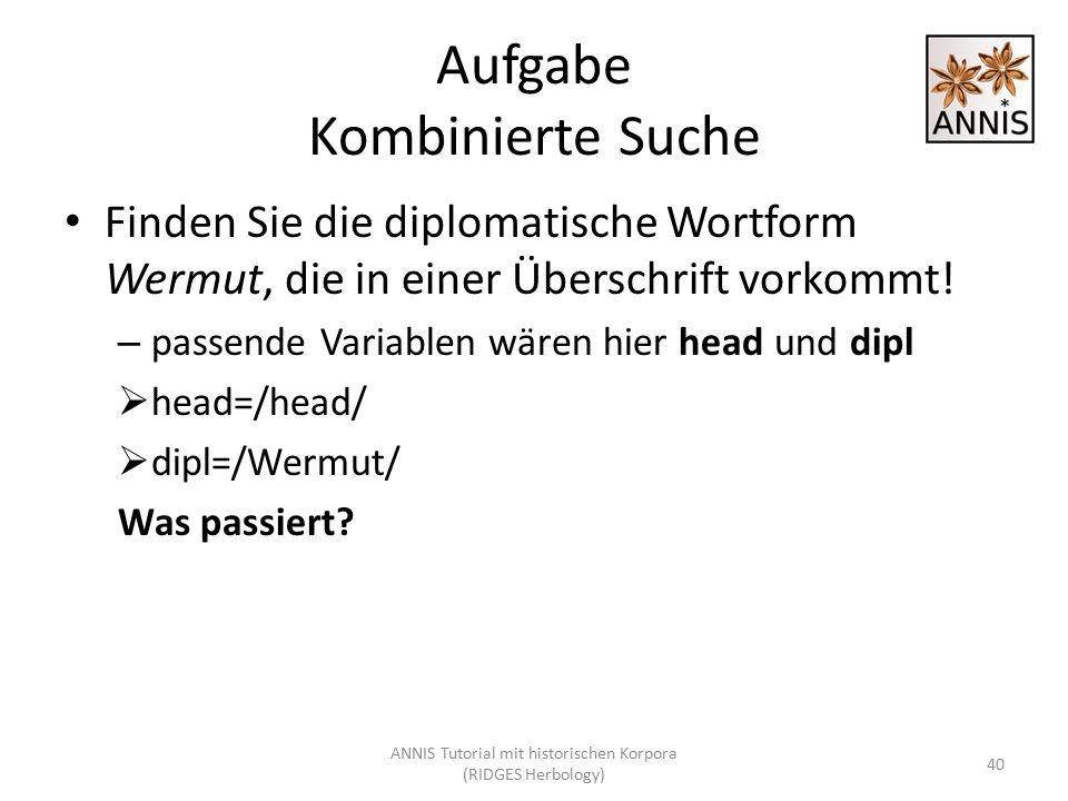 Aufgabe Kombinierte Suche Finden Sie die diplomatische Wortform Wermut, die in einer Überschrift vorkommt! – passende Variablen wären hier head und di