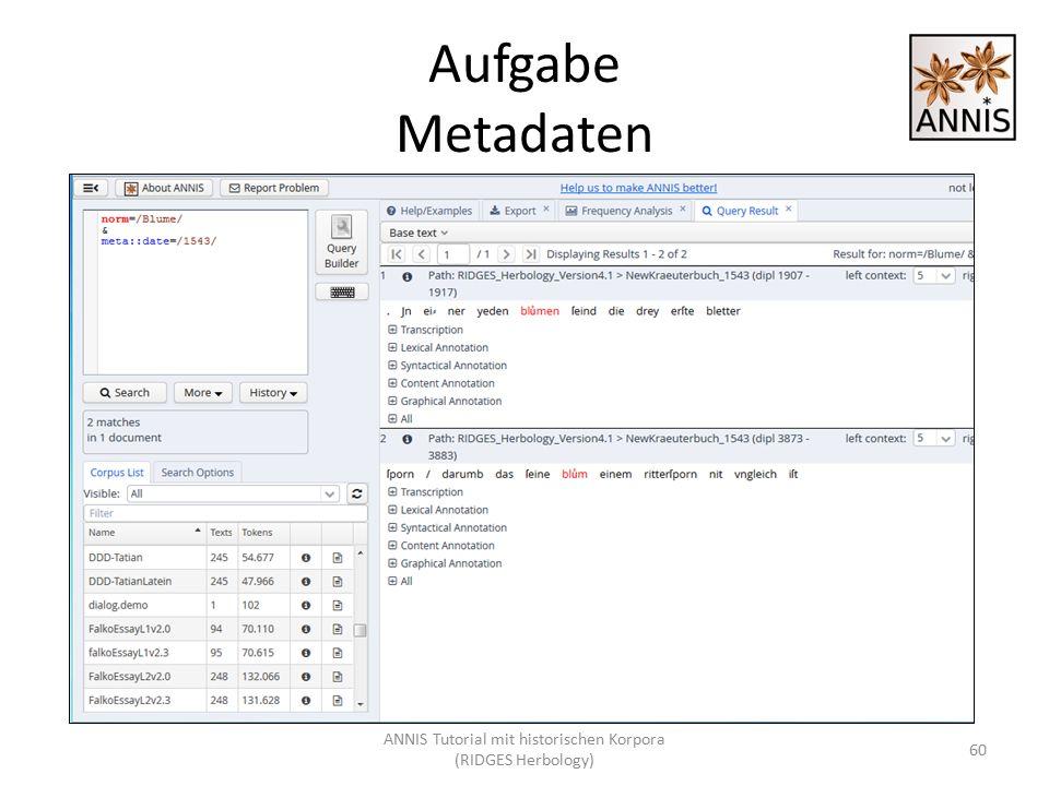Aufgabe Metadaten ANNIS Tutorial mit historischen Korpora (RIDGES Herbology) 60