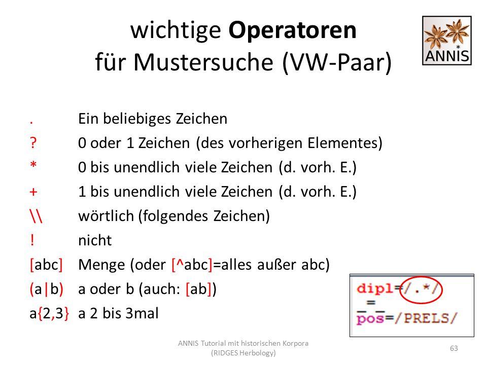 wichtige Operatoren für Mustersuche (VW-Paar).Ein beliebiges Zeichen ?0 oder 1 Zeichen (des vorherigen Elementes) *0 bis unendlich viele Zeichen (d. v