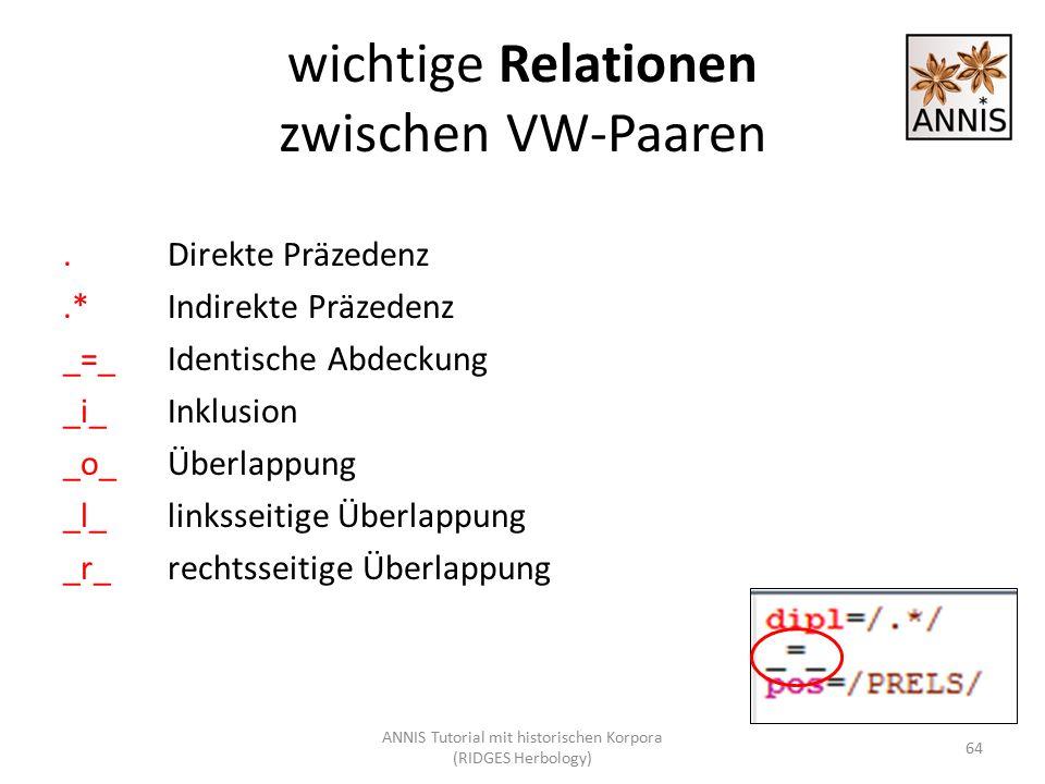 wichtige Relationen zwischen VW-Paaren.Direkte Präzedenz.*Indirekte Präzedenz _=_Identische Abdeckung _i_Inklusion _o_Überlappung _l_linksseitige Über