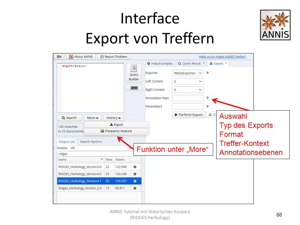 """Interface Export von Treffern 68 Auswahl Typ des Exports Format Treffer-Kontext Annotationsebenen Funktion unter """"More"""" ANNIS Tutorial mit historische"""