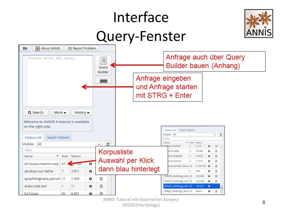 Interface Query-Fenster 8 Anfrage eingeben und Anfrage starten mit STRG + Enter Korpusliste Auswahl per Klick dann blau hinterlegt Anfrage auch über Q