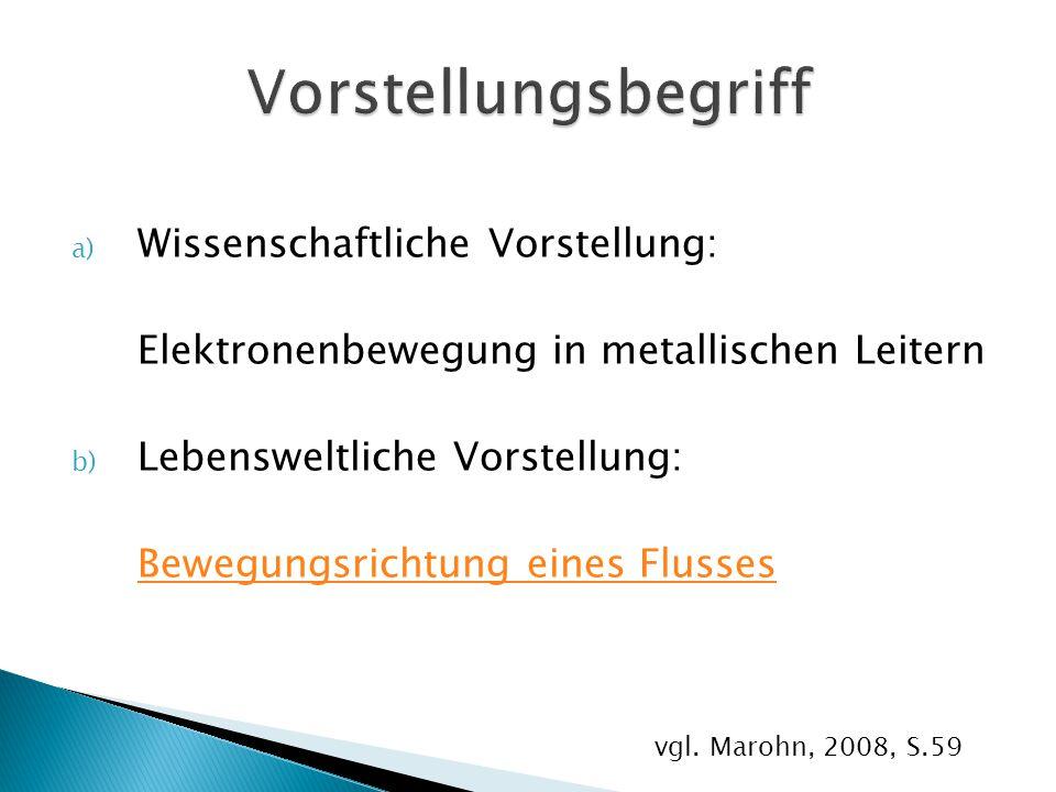 a) Wissenschaftliche Vorstellung: Elektronenbewegung in metallischen Leitern b) Lebensweltliche Vorstellung: Bewegungsrichtung eines Flusses vgl. Maro