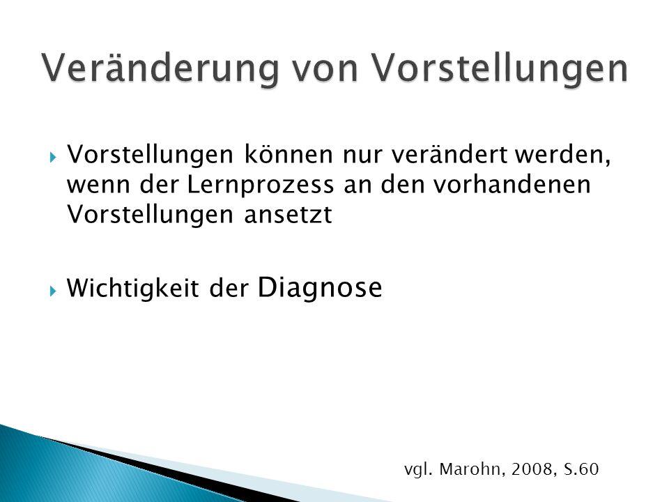  Vorstellungen können nur verändert werden, wenn der Lernprozess an den vorhandenen Vorstellungen ansetzt  Wichtigkeit der Diagnose vgl. Marohn, 200