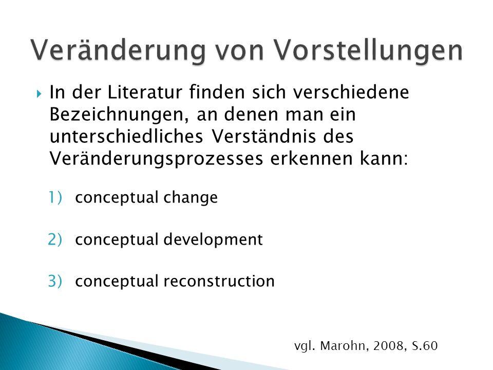  In der Literatur finden sich verschiedene Bezeichnungen, an denen man ein unterschiedliches Verständnis des Veränderungsprozesses erkennen kann: 1)c