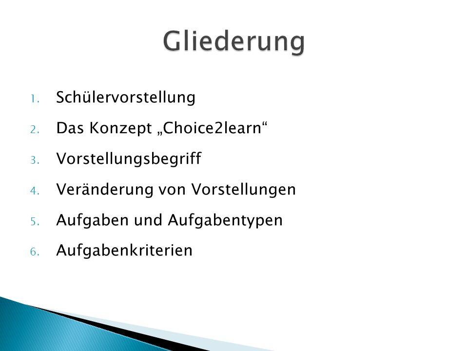 """1. Schülervorstellung 2. Das Konzept """"Choice2learn"""" 3. Vorstellungsbegriff 4. Veränderung von Vorstellungen 5. Aufgaben und Aufgabentypen 6. Aufgabenk"""