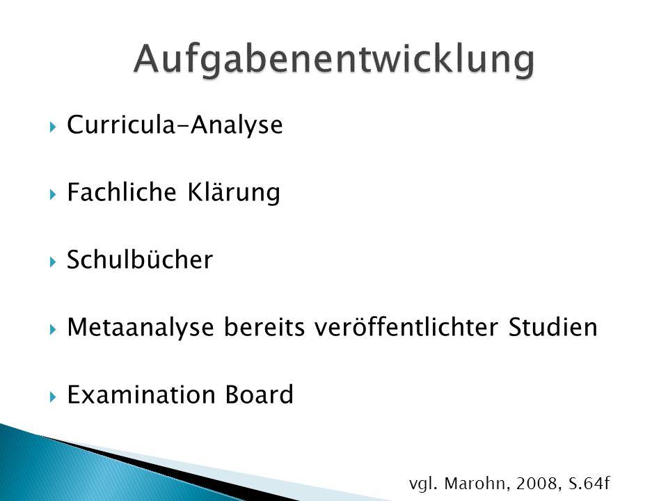  Curricula-Analyse  Fachliche Klärung  Schulbücher  Metaanalyse bereits veröffentlichter Studien  Examination Board vgl. Marohn, 2008, S.64f
