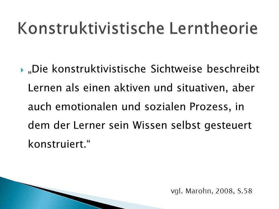 """ """"Die konstruktivistische Sichtweise beschreibt Lernen als einen aktiven und situativen, aber auch emotionalen und sozialen Prozess, in dem der Lerne"""