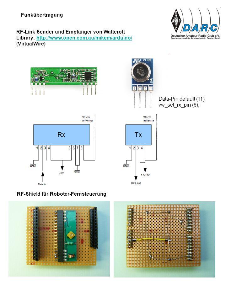 Funkübertragung RF-Link Sender und Empfänger von Watterott Library: http://www.open.com.au/mikem/arduino/http://www.open.com.au/mikem/arduino/ (Virtua