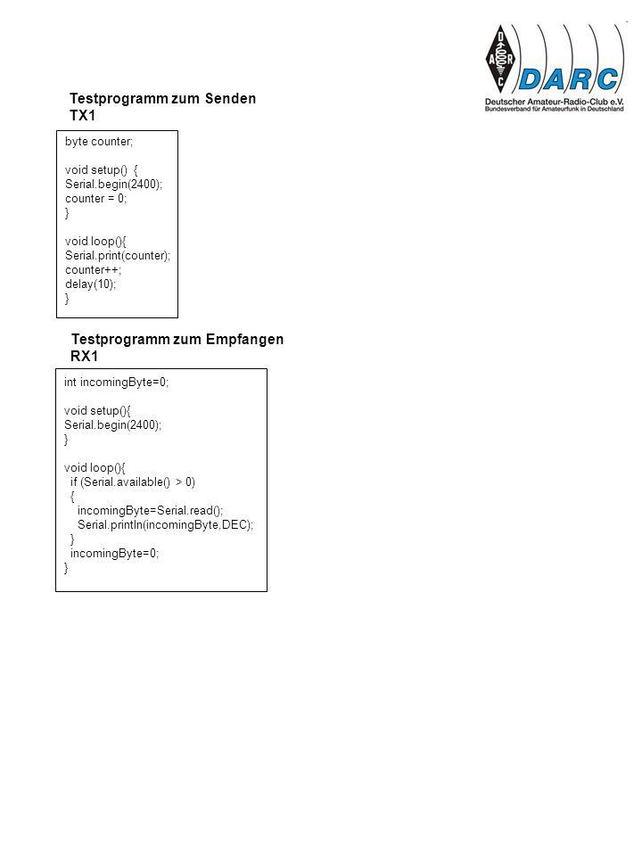 byte counter; void setup() { Serial.begin(2400); counter = 0; } void loop(){ Serial.print(counter); counter++; delay(10); } Testprogramm zum Senden TX