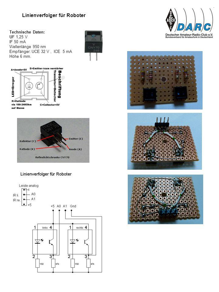 Technische Daten: UF 1,25 V IF 50 mA Wellenlänge 950 nm Empfänger: UCE 32 V, ICE 5 mA Höhe 6 mm. Linienverfolger für Roboter