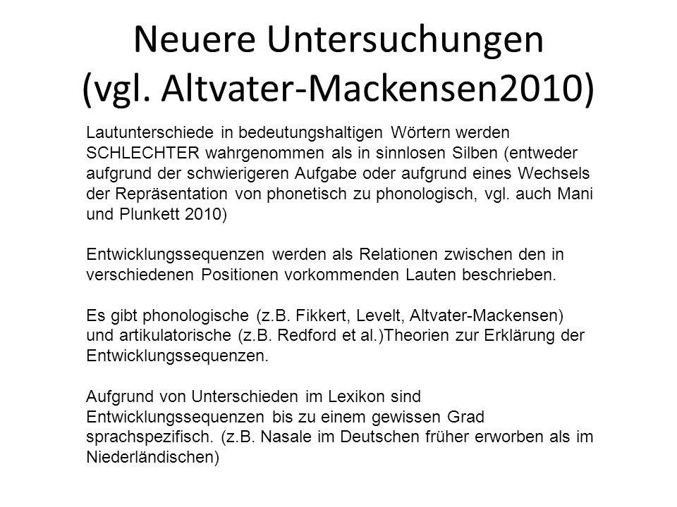 Neuere Untersuchungen (vgl. Altvater-Mackensen2010) Lautunterschiede in bedeutungshaltigen Wörtern werden SCHLECHTER wahrgenommen als in sinnlosen Sil
