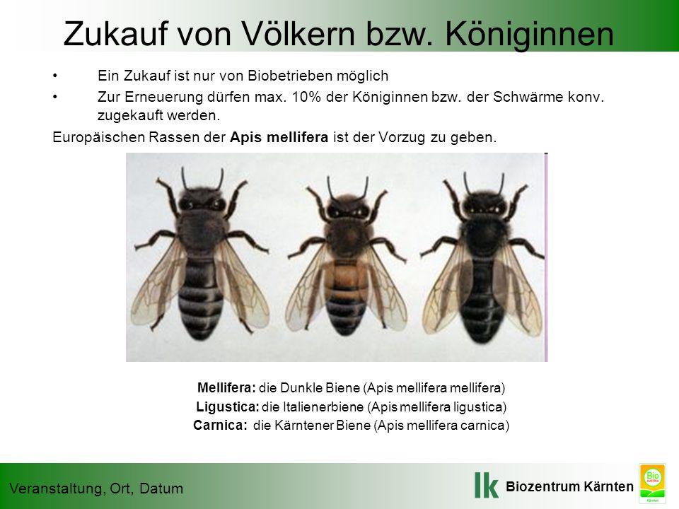 Biozentrum Kärnten Veranstaltung, Ort, Datum Zukauf von Völkern bzw. Königinnen Ein Zukauf ist nur von Biobetrieben möglich Zur Erneuerung dürfen max.