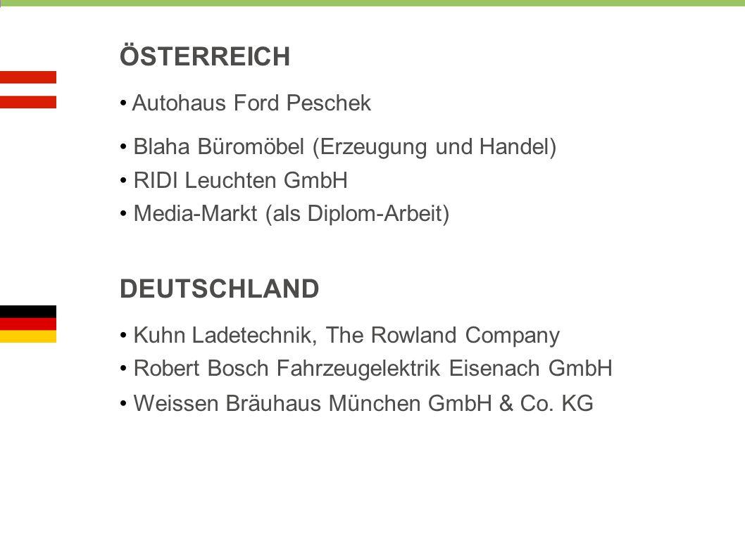 ÖSTERREICH Autohaus Ford Peschek Blaha Büromöbel (Erzeugung und Handel) RIDI Leuchten GmbH Media-Markt (als Diplom-Arbeit) DEUTSCHLAND Kuhn Ladetechni
