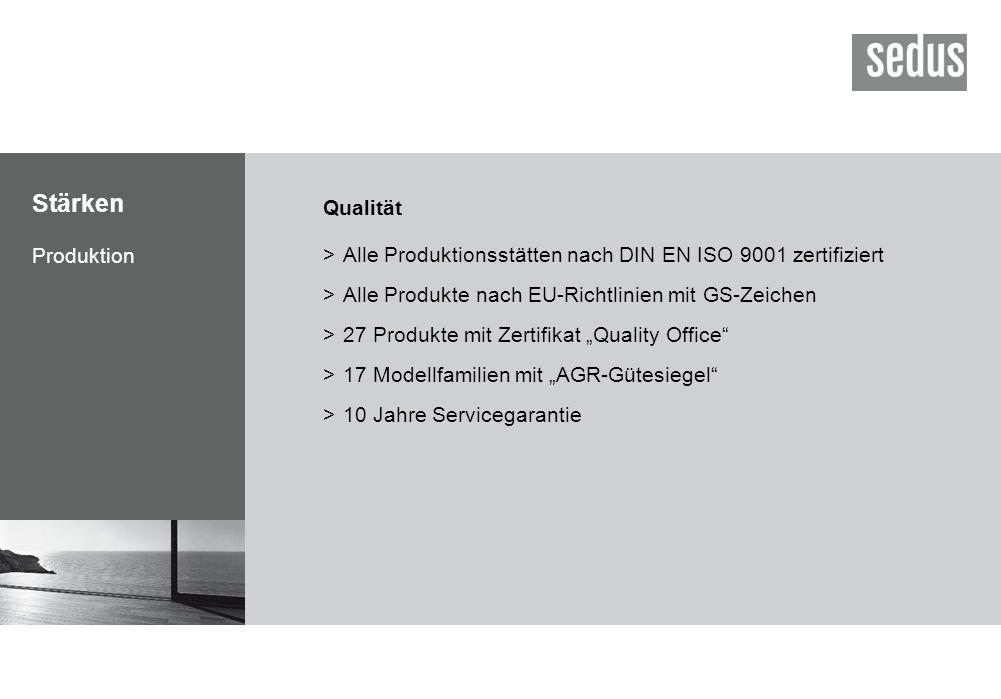 Stärken Produktion Qualität >Alle Produktionsstätten nach DIN EN ISO 9001 zertifiziert >Alle Produkte nach EU-Richtlinien mit GS-Zeichen >27 Produkte