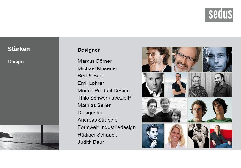 Stärken Design Designer Markus Dörner Michael Kläsener Bert & Bert Emil Lohrer Modus Product Design Thilo Schwer / speziell ® Mathias Seiler Designshi