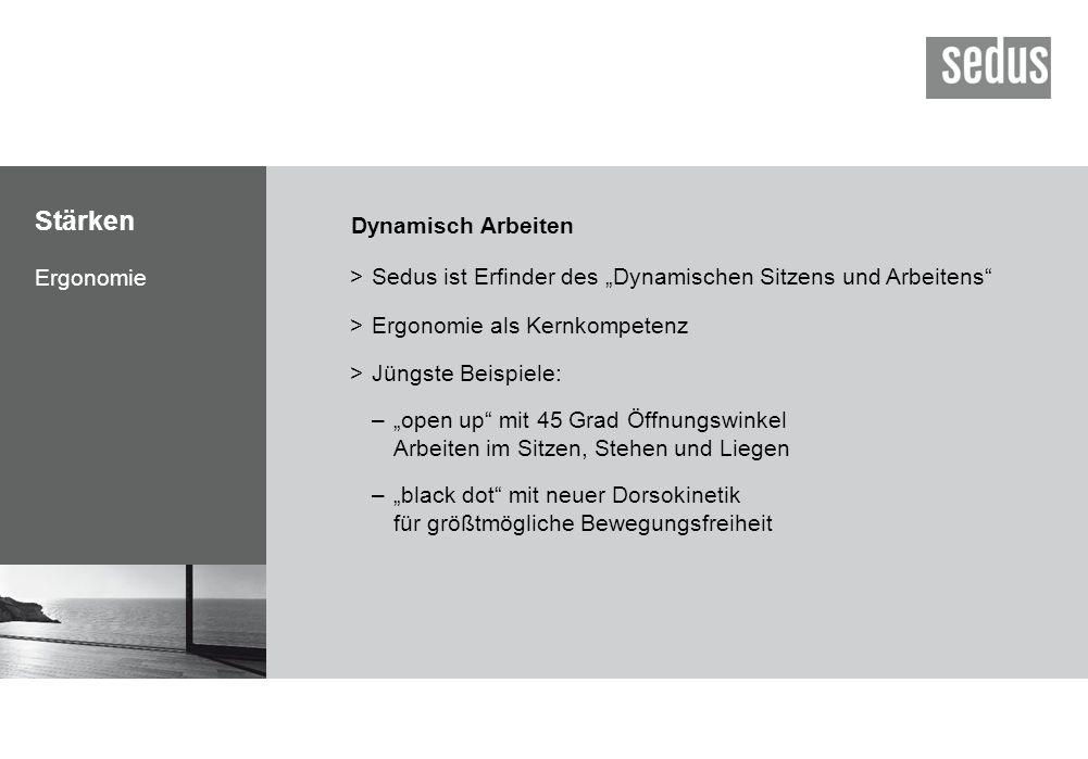 """Stärken Ergonomie Dynamisch Arbeiten >Sedus ist Erfinder des """"Dynamischen Sitzens und Arbeitens"""" >Ergonomie als Kernkompetenz >Jüngste Beispiele: –""""op"""