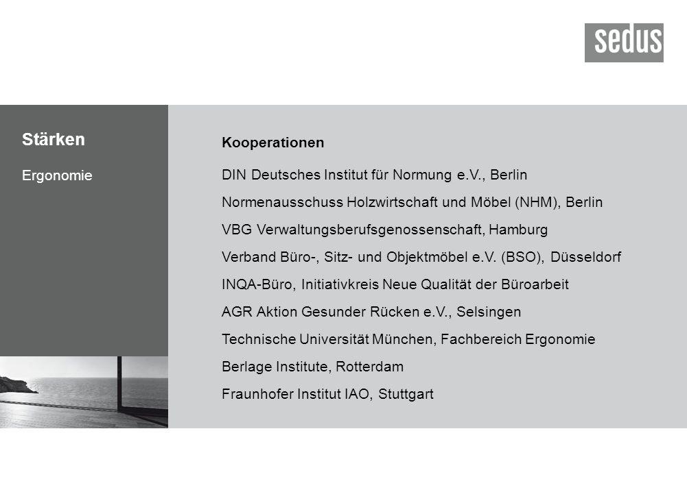 Stärken Ergonomie Kooperationen DIN Deutsches Institut für Normung e.V., Berlin Normenausschuss Holzwirtschaft und Möbel (NHM), Berlin VBG Verwaltungs