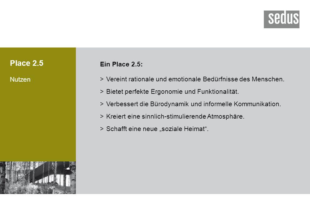 Place 2.5 Nutzen >Vereint rationale und emotionale Bedürfnisse des Menschen. >Bietet perfekte Ergonomie und Funktionalität. >Verbessert die Bürodynami