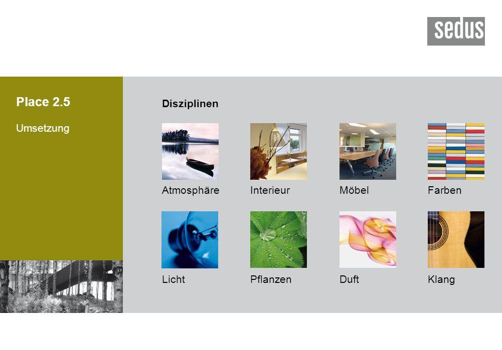 Place 2.5 Umsetzung AtmosphäreInterieurMöbel LichtPflanzen Farben DuftKlang Disziplinen