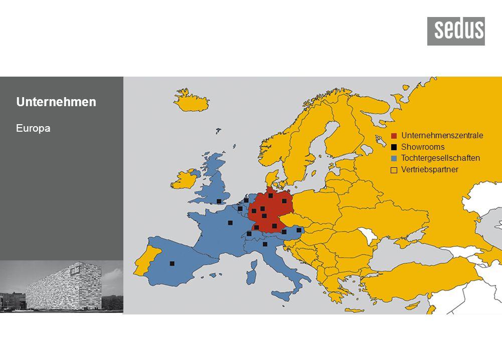 Unternehmen Europa Unternehmenszentrale Showrooms Tochtergesellschaften Vertriebspartner